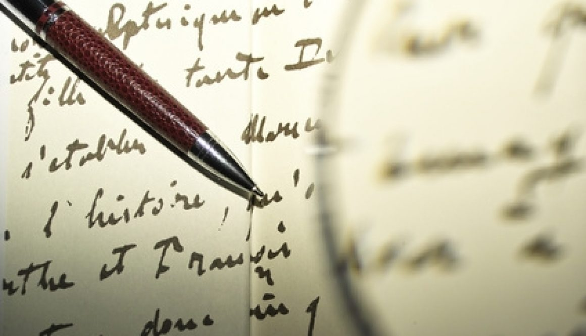 magnifying glass writing